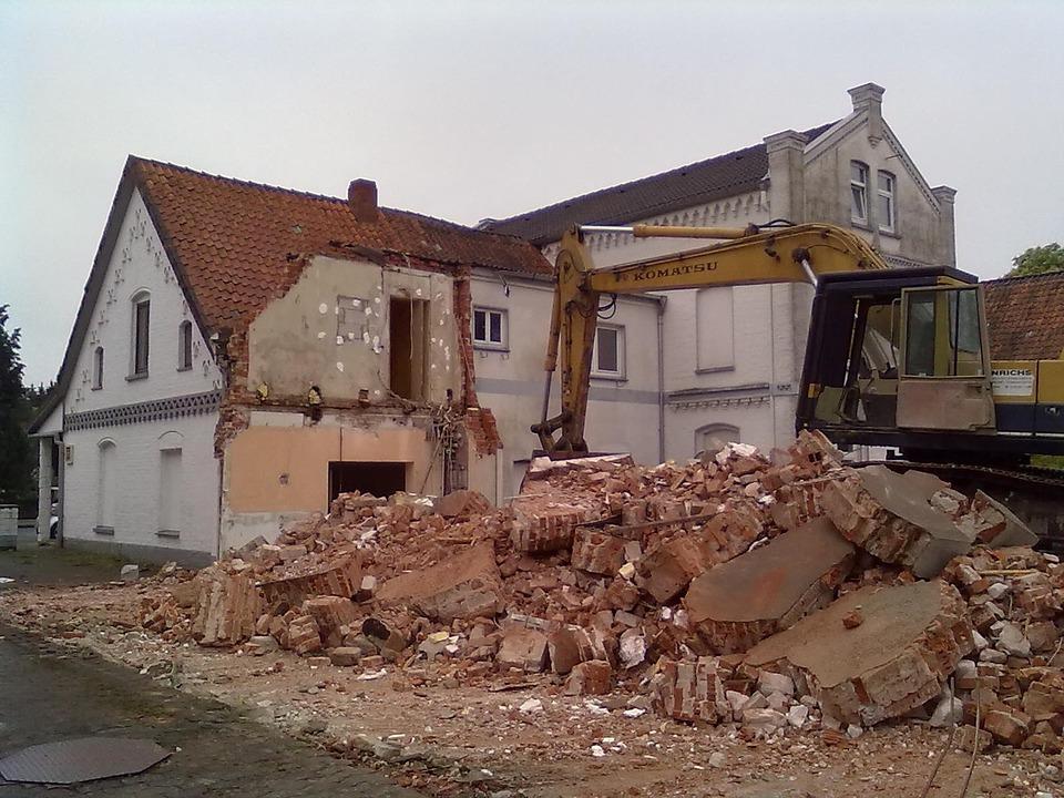 house under demolition